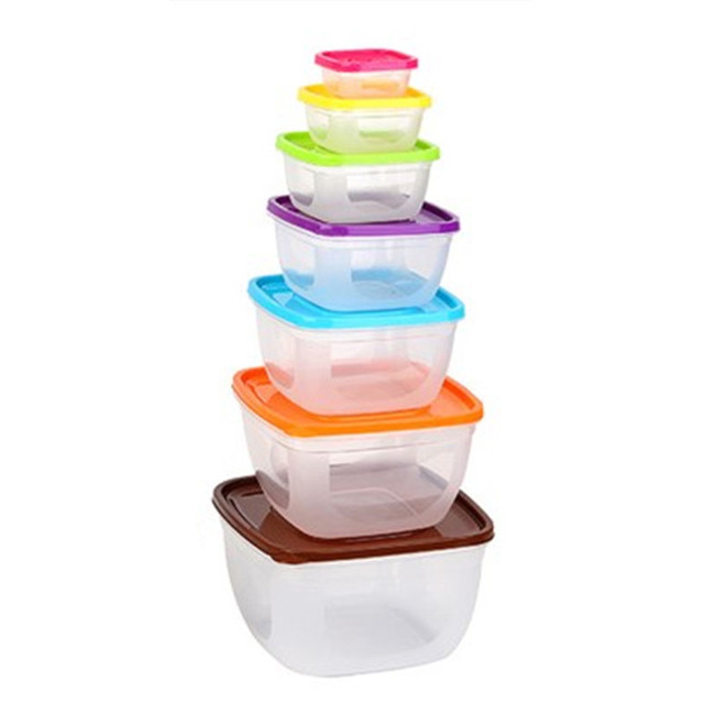 7pcs/set Rainbow Crisper Food Containers With Lids Reusable Microwavable  Plastic Container Round Square Food Storage Boxes Bins