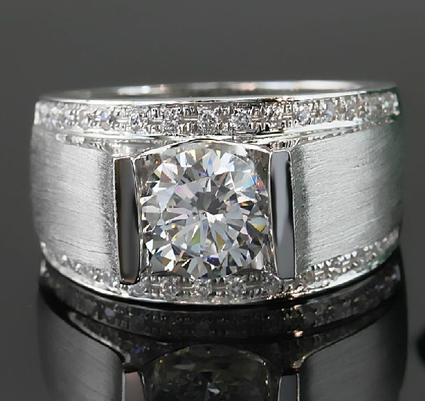 1 Carat Classic Real Solid 18K White Gold Man Ring Diamond Mens Wedding Ring Vintage Wide Band