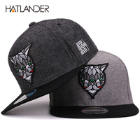 New Flat Bill Hiphop Hats 3D Devil Embroidery Adult Adjustable Snapback Caps For Men And Women