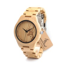 BOBO BIRD D28 Full Bamboo Wooden Watch for Men Deer Designer Brand Quartz Wrist Watches in Gift Box