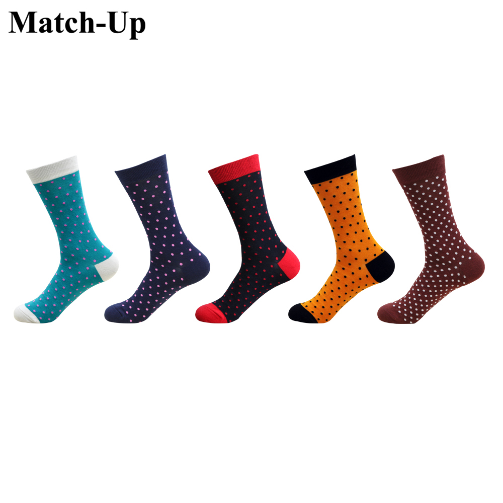 Match-Up Men's Fashion Carding Cotton DoT Stretched Point Large Size Socks Letter(5 Pairs/Lot) US 7.5-12