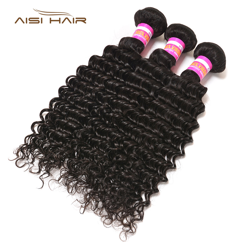 AISI HAIR Deep wave Indian Hair 10-24inch Virgin Hair Extension Bundles Natural Color 3 PCS 100% Human Hair Weave Bundles