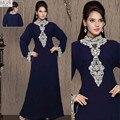 2016 Plus Size azul Frisada Lace robe de soirée Muçulmano Vestidos de noite Islâmico Dubai Abaya Kaftan Longos vestidos de Noite do Baile de Finalistas vestido