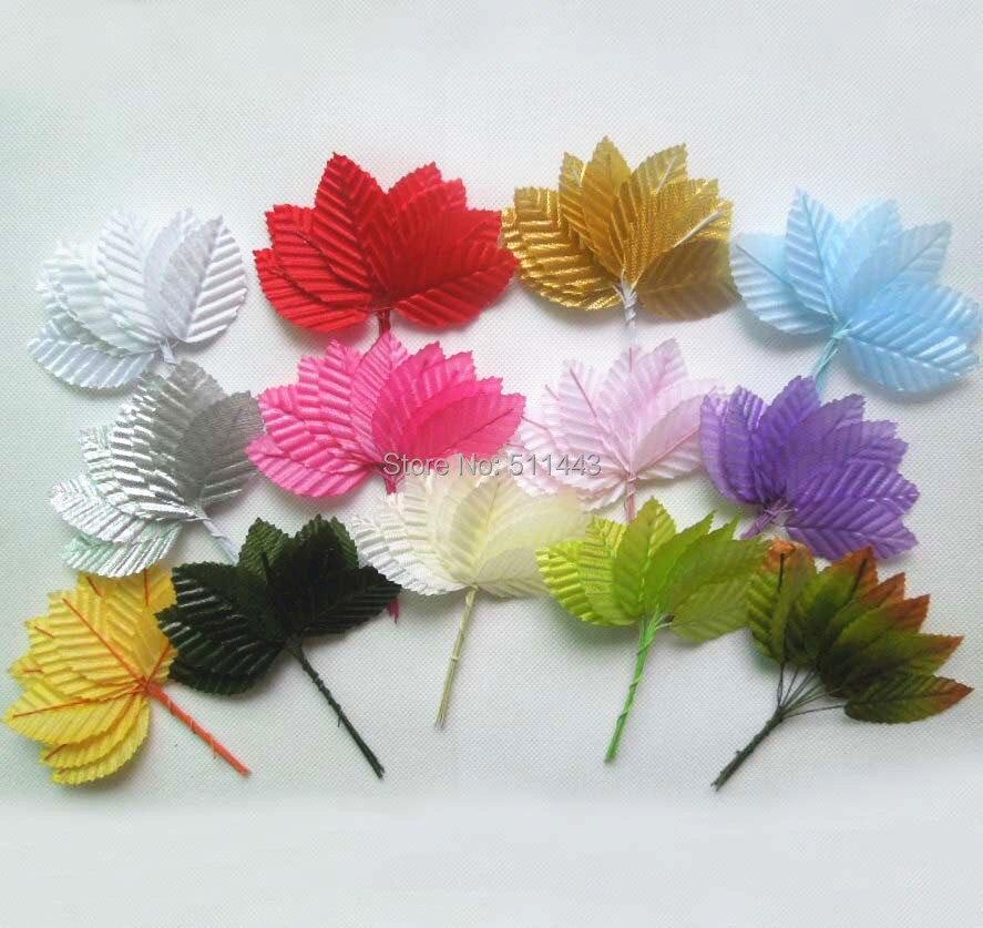 Aliexpress buy 144pcs 3cm handmade artificial mini 200pcs 3 x 5cm decorative artificial silk fabric leaves with wire stem for scrapbooking diy hair mightylinksfo
