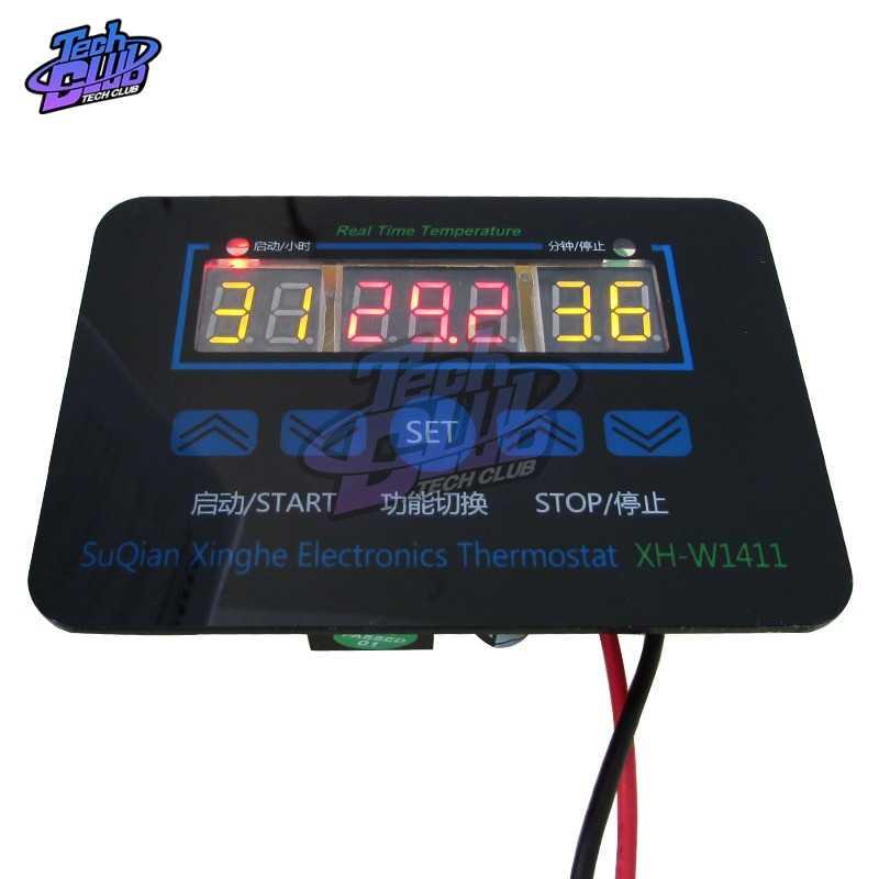 W1411 220 V/12 V 10A LED Digital Suhu Controller Thermostat Control Switch Sensor untuk Rumah Kaca Air Peternakan