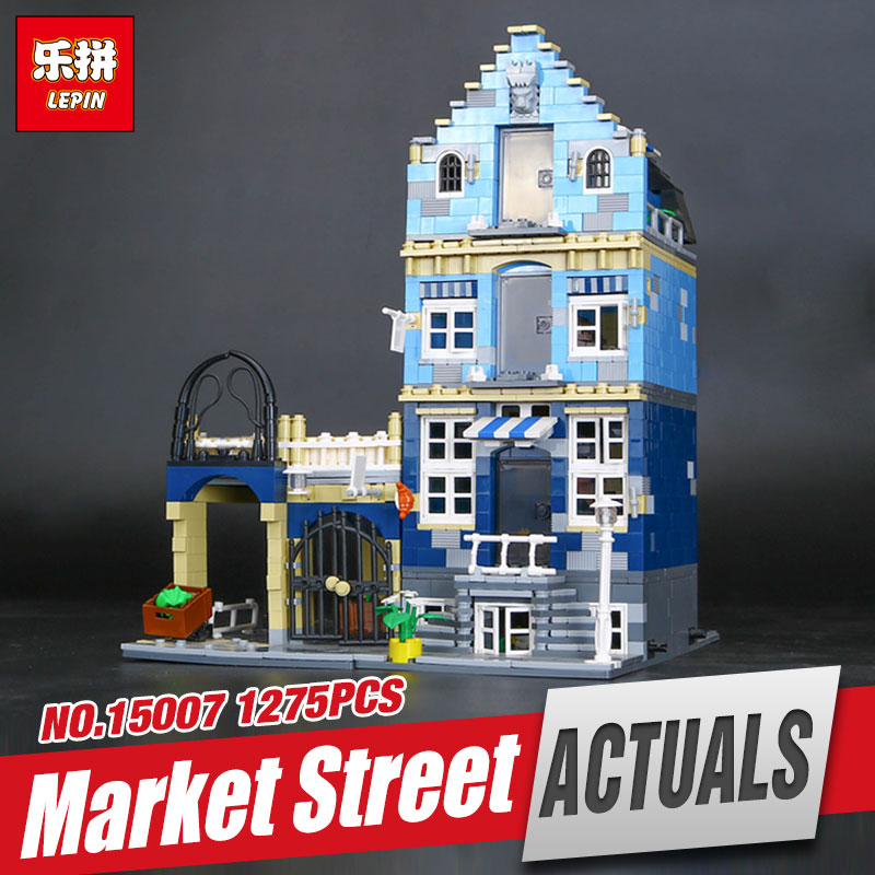 New Lepin 15007 Genuine Factory City Street European Market Model Educational Building Blocks Compatible With toys 10190 lepin 02012 city deepwater exploration vessel 60095 building blocks policeman toys children compatible with lego gift kid sets