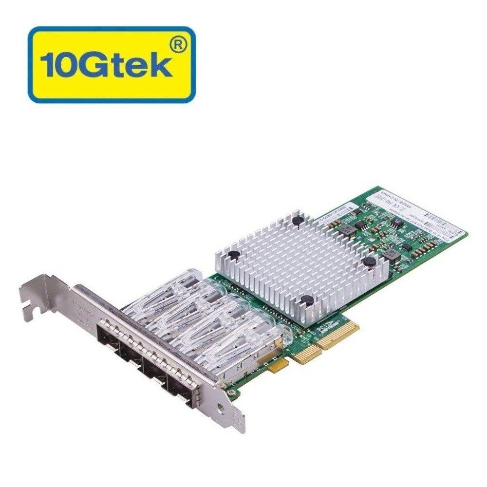 10Gtek for Intel 82580 Chipset 1G Ethernet Server Adapter (NIC), Quad SFP Port, PCIE 2.0, Same as I340 F4
