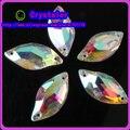 Frete grátis 20x10mm Forma Vidro cristal Folha Costurar em Strass Limpar AB, 10x20mm beleza peixe costurar em pedras de cristal costurar