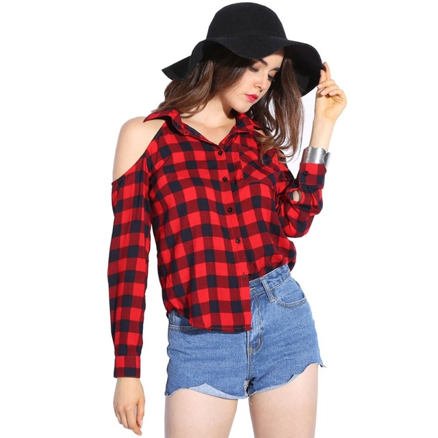 Dioufond Cold Shoulder Women Shirts 2017 Spring Style Shirt Long Sleeve  Ladies Tops Plaid Red Blouse Women Lapel Fashion Blouses 5fc4811a3135