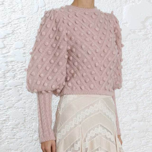 7bd187c26c5 BOHO INSPIRED Unbridled bauble sweater oversized sleeves fashion chic  sweater women pink knited balls embellished pullovers