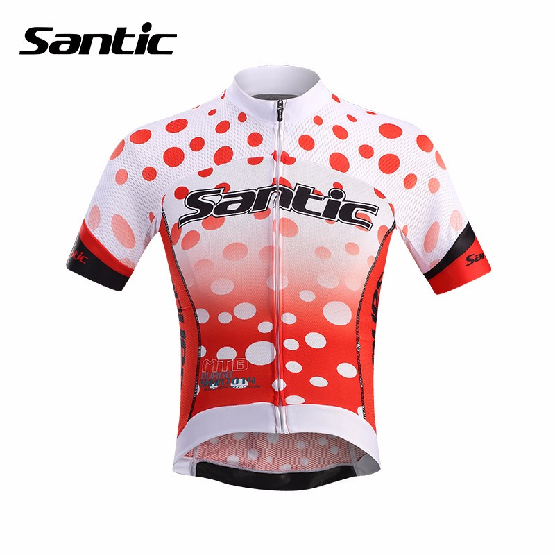 Santic Mens Short Sleeved Shirt Breathable Quick Dry Cycling Jersey Anti-UV Elastic Bike Riding Clothing Anti-Pilling MTB Wear santic short cycliste homme anti sweat and quick dry mtb shorts cuissard velo homme pro gel troy lee designs short vtt c05018