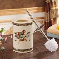 horse ceramic Creative Toilet brush bathroom accessories home decoration handicraft ornament porcelain figurines decorations