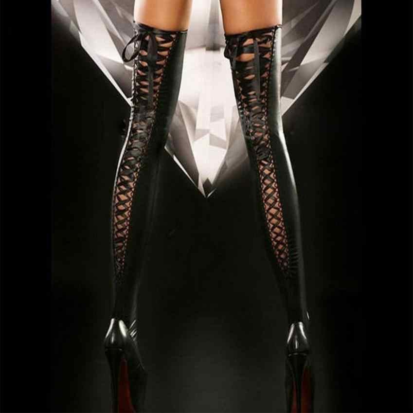 NewSexy ผู้หญิงต้นขาสูงถุงน่องหนังลูกไม้โบว์ยาวถุงเท้าเข่าถุงเท้าตลกถุงเท้า meia feminina polainas