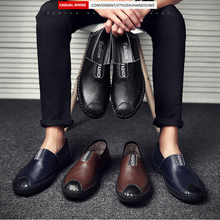 High Quality Men Leather Shoes Breathable Hole Loafers Casual Fashion Flat-bottomed Male Shoe Soft Moccasins Driving Shoes Male цена 2017