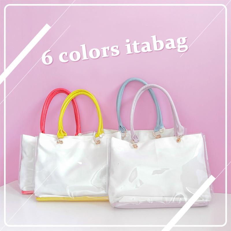 Ita Bag Clad Bag Tote Bag DIY Transparent Candy Color Canvas Shoulder Bag Handbag Kawaii Schoolbags For Teenage Girls