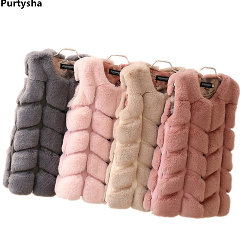 Children Faux Fur Vest Baby Girl Winter Clothes New Fashion Warm Waistcoat Kids Sleeveless Jacket Outerwear Clothing For 2 6 12Y open front faux fur embellished sleeveless cardigan