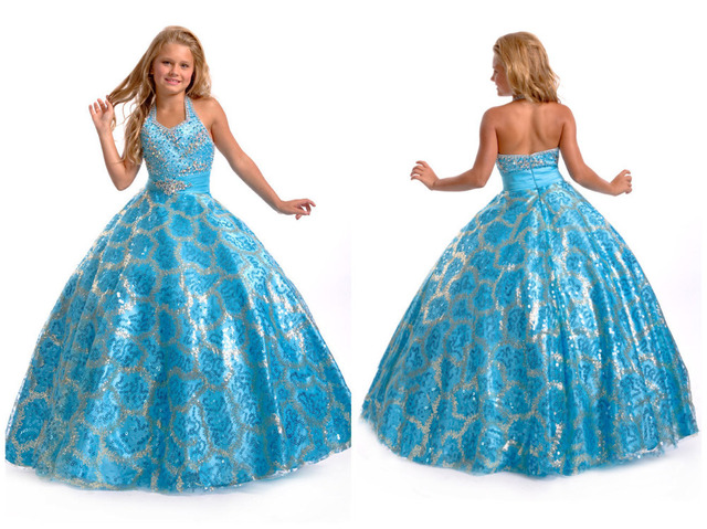 Prom Dress Flashing Bright Color Childern Party Dress Little Girls