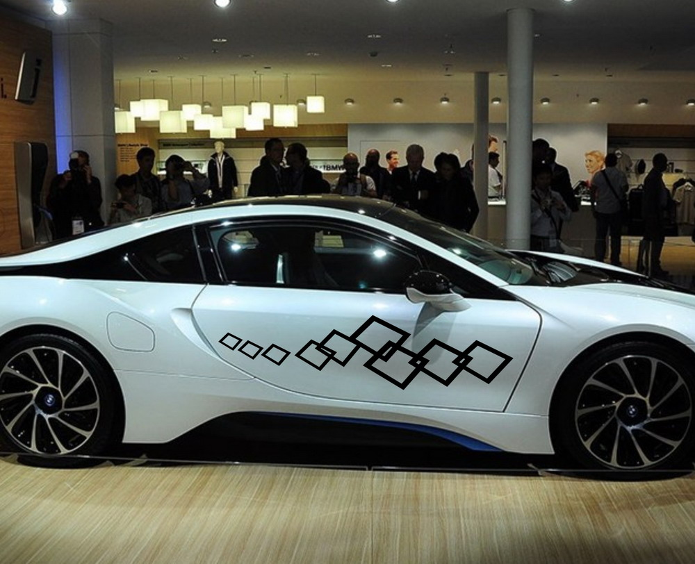 Design a car sticker online - Car Racing Checkered Flags Squares Door Decals For I8 Vinyl Side Stickers 395 China