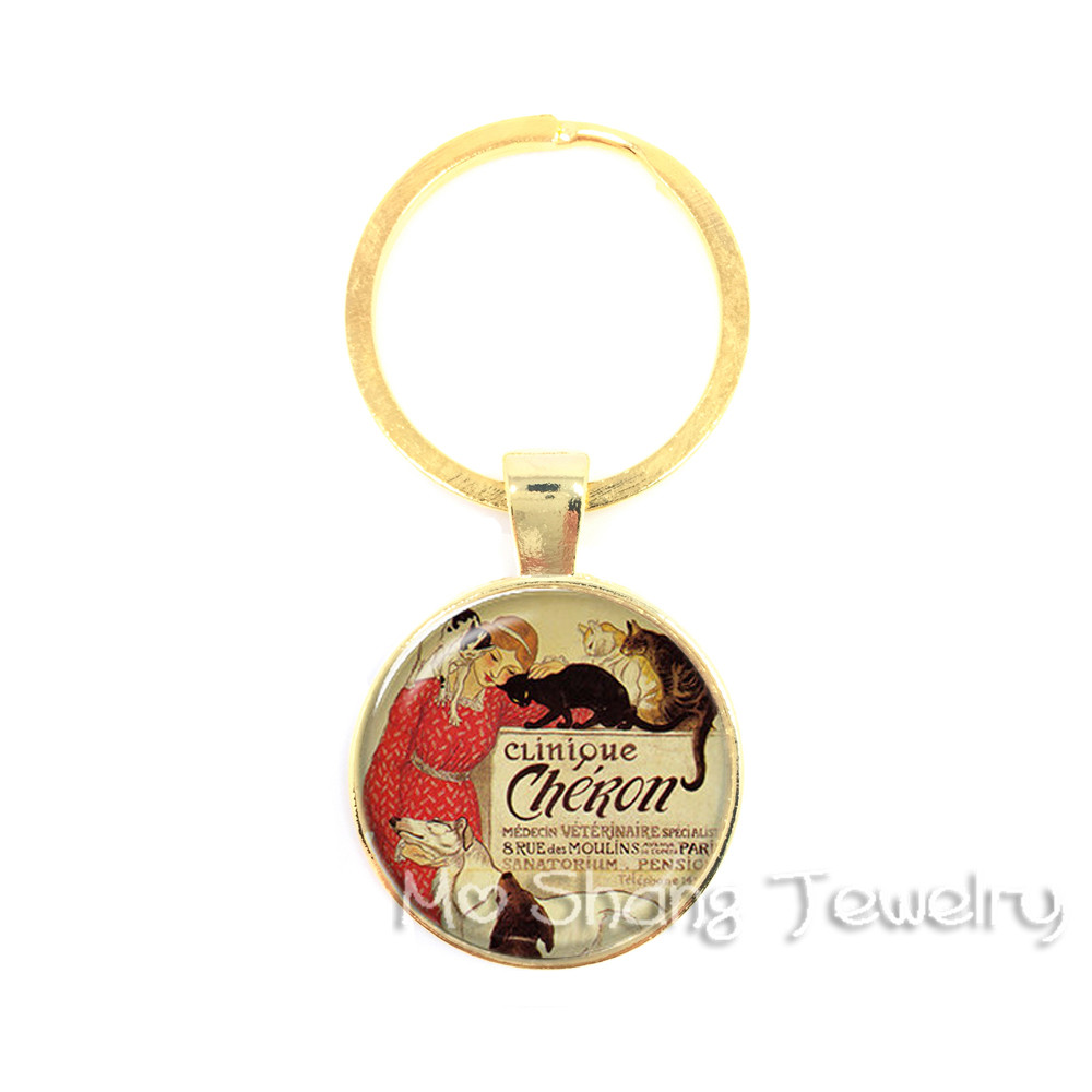 Glass Cabochon Key Chain Ring For Lover Animal Clinique Key Chains <font><b>Dog</b></font> Jewelry <font><b>Cat</b></font> Keychain Women Girl <font><b>Jewellery</b></font> image