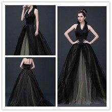 Mzy0198 mode schwarz halfter eine- Linie tüll zug lange abendkleid abschlussball partykleid custom made