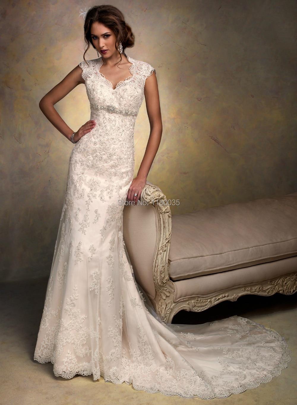 Western Lace Cap Sleeve Wedding Dress 2014 Classic Style Beaded ...