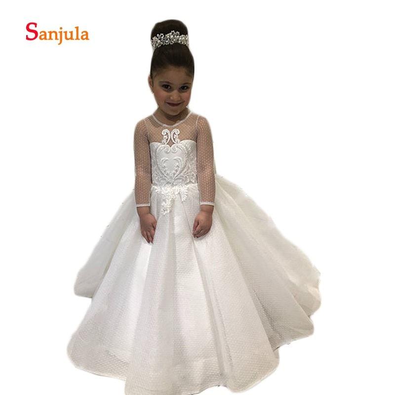 Dot Tulle Sheer Long Sleeve   Flower     Girls     Dresses   Child Special Occasion   Dresses   with Appliques vestido infantil festa D112