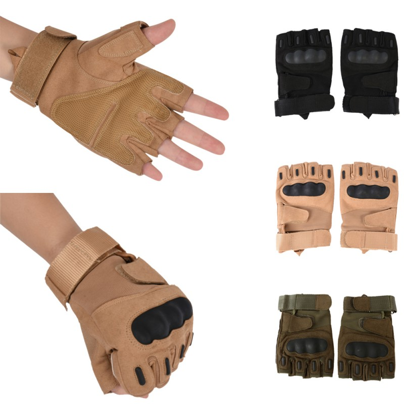 Outdoor Hiking Gloves Tactical Military Half-finger Antiskid Sports Mens Skiing Gloves