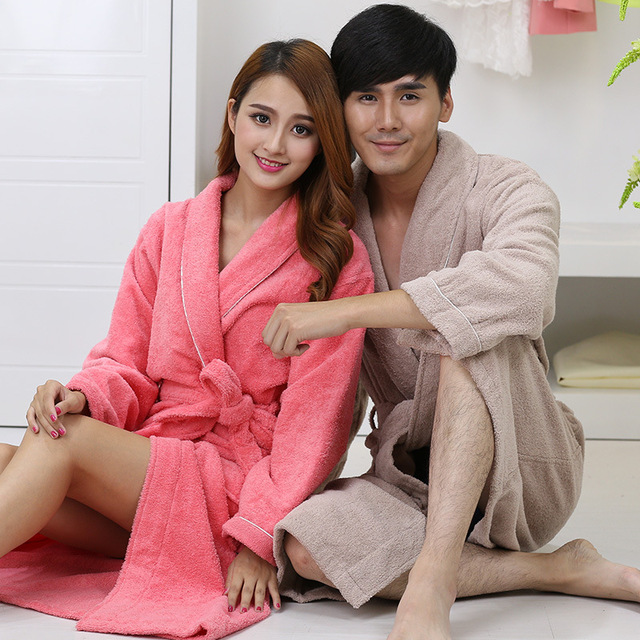 a499543848 Men Women 100% Cotton Terry Bathrobe lovers Thick Terry Robe Towel Sleepwear  Long Bath Robe Kimono Femme Dressing Gown
