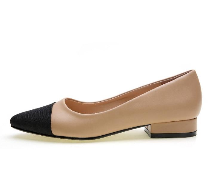 ФОТО Ladies Simple Nude Black Color Match Low Heel Ballet Flats Shoes Women Ballerina Flats