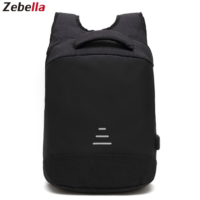 Zebella Anti-theft Men Backpack Waterproof USB Charging Black Business Travel Bags For Notebooks Vintage School Bag For Teenager