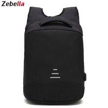 Купить с кэшбэком Zebella Anti-theft Men Backpack Waterproof USB Charging Black Business Travel Bags For Notebooks Vintage School Bag For Teenager