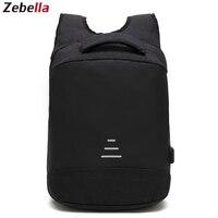 Zebella Anti theft Men Backpack Waterproof USB Charging Black Business Travel Bags For Notebooks Vintage School Bag For Teenager
