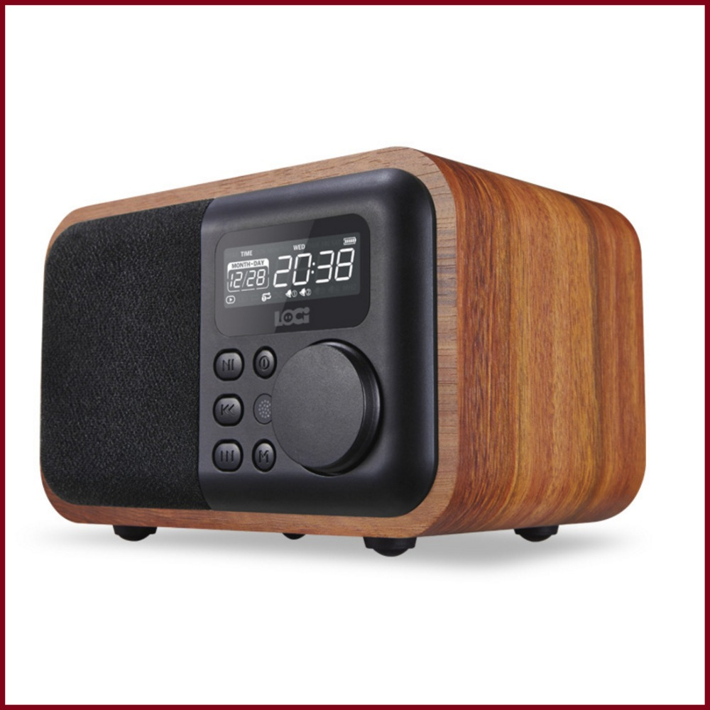 ibox d90 multifunction wood bluetooth speaker with fm radio support alarm clock display time in. Black Bedroom Furniture Sets. Home Design Ideas