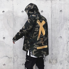 bumpybeast Camouflage High Street Ribbon Patchwork Cotton Men X Print Bomber Coat