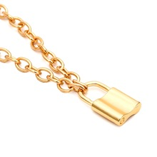 Fashion Women Jewelry Silver Gold PadLock Pendant Necklace Brand New Link Chain Friendship Gifts