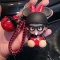 Cute Mickey Minnie Mouse Bee Ladybird Bell Decoration Monchichi KeyChain Kiki Women Bag Charm KeyRing K027-Minne+BR