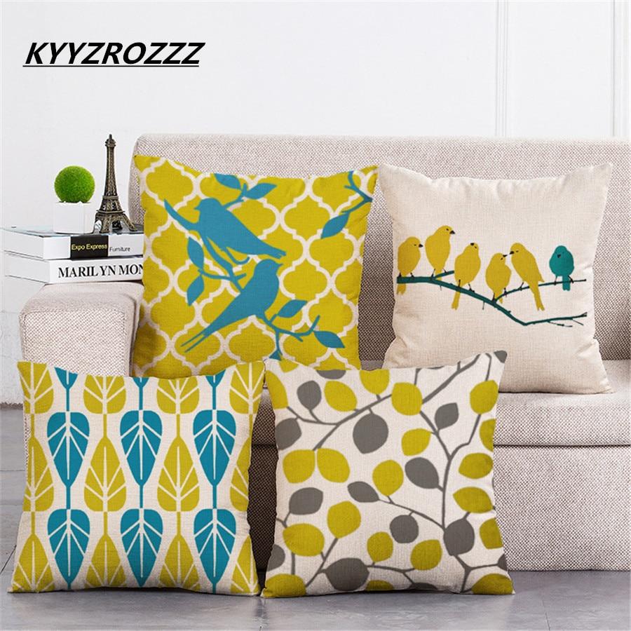 Fashion Yellow Color LOVE Bird Cushions Cover Heart Home Decor Linen Cotton Pillow Cover Decorative Throw Pillows Pillowcase