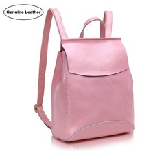 Fashion Preppy Style Women's Backpacks High Quality Genuine Leather Brief Bags Double Shoulder Girl's Bag