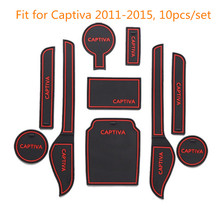Car Non-Slip Interior Car Door Groove Mat Cup Pad Stickers Covers For Chevrolet Captiva 2011 To 2015 10pcs Per Set Car Styling