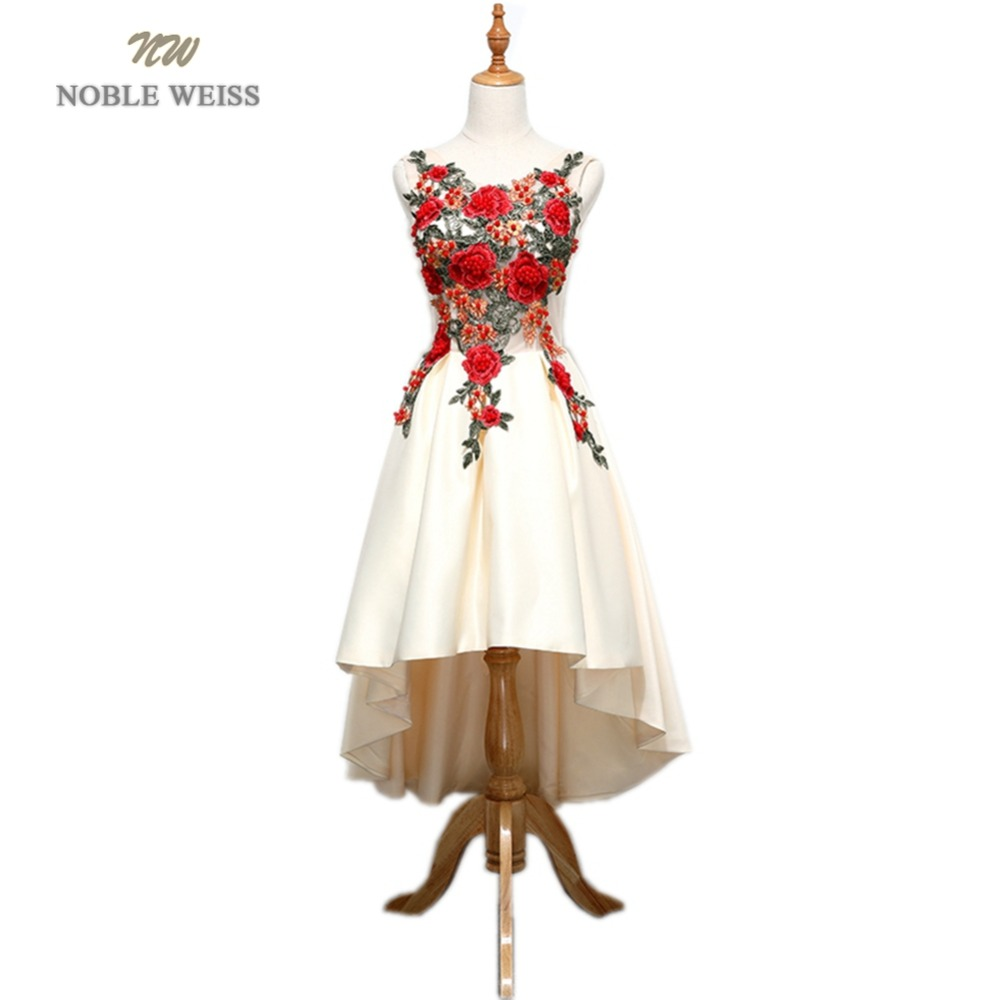 NOBLE WEISS Champagne Prom Dresses Flower Appliques Beading Robe De Soiree Asymmetrical Sexy New Style Satin