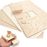 34Pcs Dollhouse 3D Furnitures Puzzle Scale Miniature Models DIY Accessories Set HC6U Drop Shipping