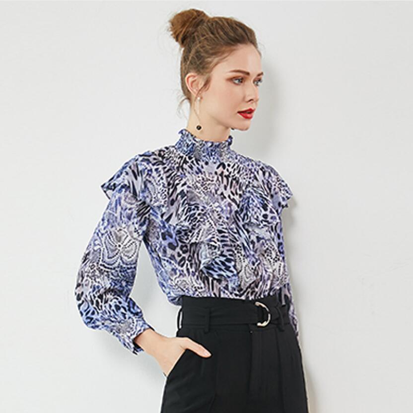 Femmes soie Blouse vraie soie léopard Blouses pour femmes col montant à manches longues Blouse chemise 2019 printemps à volants Blouses