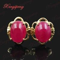 18 К золота с 100% натуральный рубиновые серьги женский красный красивый цвет Fine Jewelry
