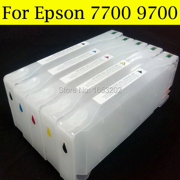 HOT!!! With Show Ink Level Chip For Epson Stylus PRO 7700 9700 Ink Cartridge For Epson Wide Format Printer refillable ink cartridge with chip for epson stylus pro 9900 large format printer ink cartridge for epson 9900