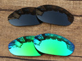 Black & Emerald Green 2 Pairs Polarized Replacement Lenses For Monster Dog Sunglasses Frame 100% UVA & UVB Protection