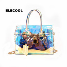 ELECOOL 1 Pc Plastic Transparent Handbags Large Tote Shoulde