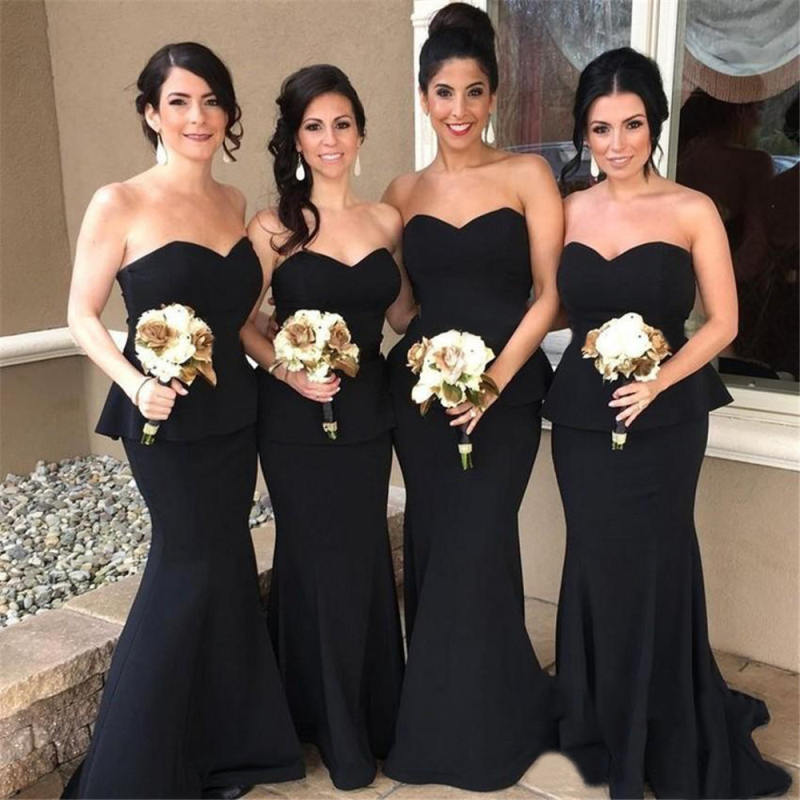 2019 Elegant Black Long   Bridesmaid     Dresses   Strapless Floor Length High Quality Elastic Satin Mermaid Maid Of Honor Gowns Cheap