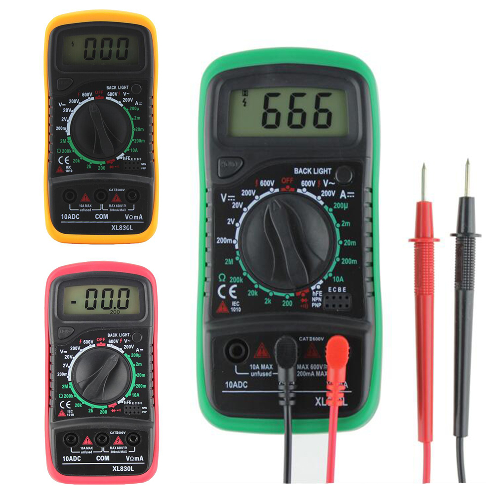 Digital multimeter xl830l voltmeter ammeter multimeter AC DC volt ohm tester LCD test current overload protection