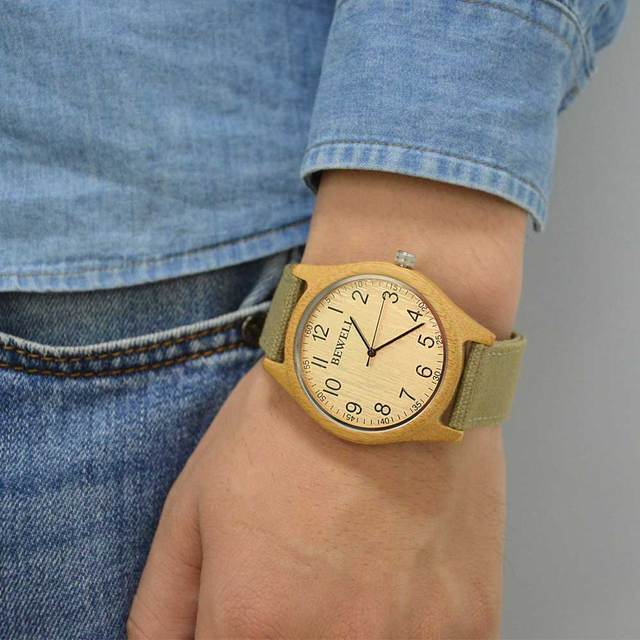 BEWELL Unisex Zebra Bamboo Wood Watch Mens Watches Top Brand Luxury Women Watches Canvas Band Wooden Men Sport Watch 124