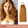 """Yotchoi grado 7A virginal humano rubio miel 27# 3 unids/lote 8 """" - 28 """" straight virgen cutícula del pelo de remy extensiones de cabello con completa fin"""